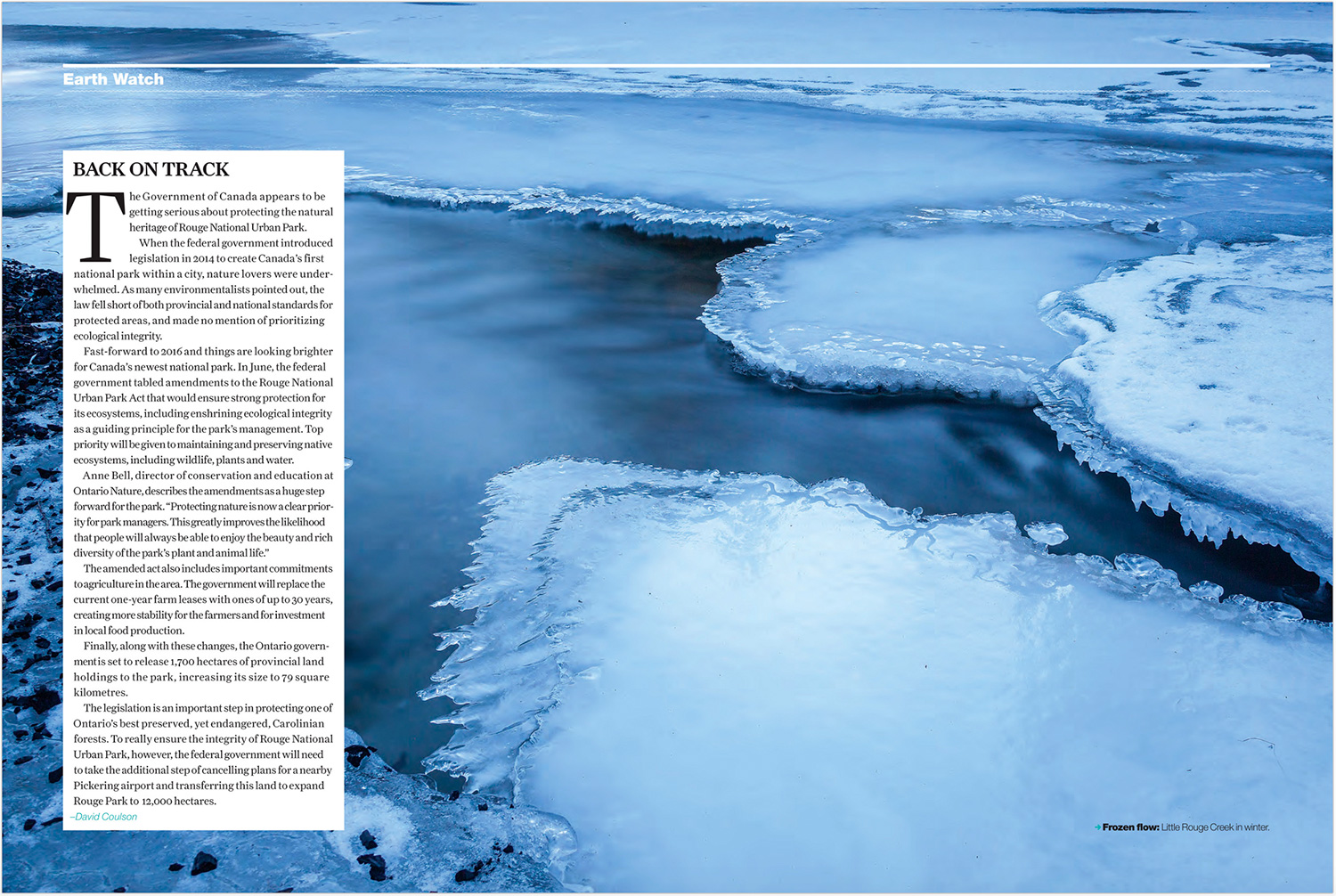 Ontario Nature Magazine Winter 2016, Earth Watch by David Coulson