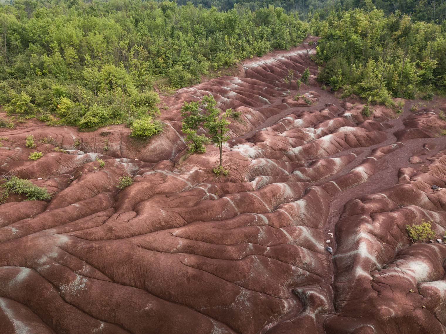 Aerial view of Cheltenham Badlands, Ontario