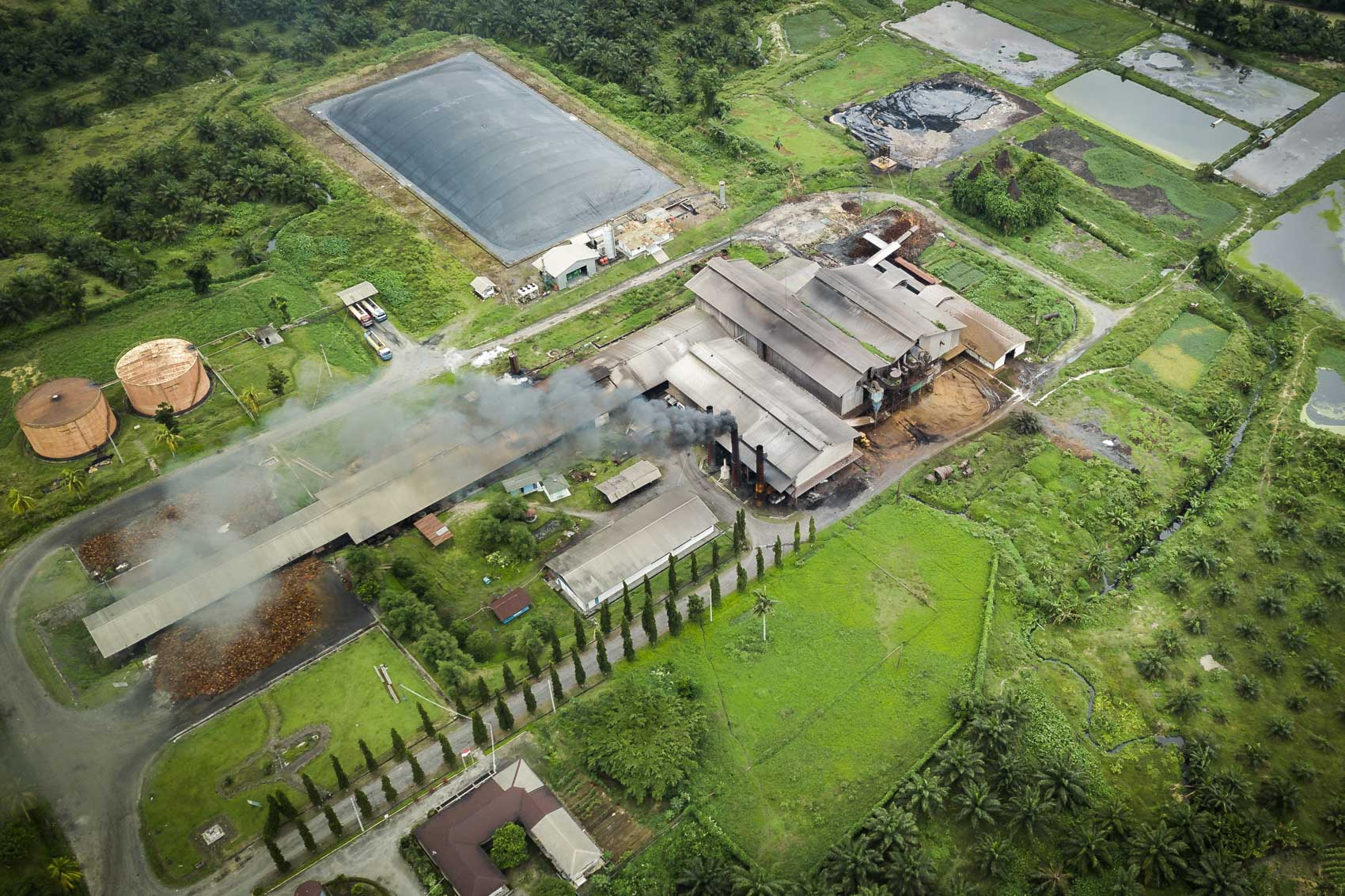 Aerial view of palm oil factory in Sumatra, Indonesia © David Coulson Canadian conservation photojournalist