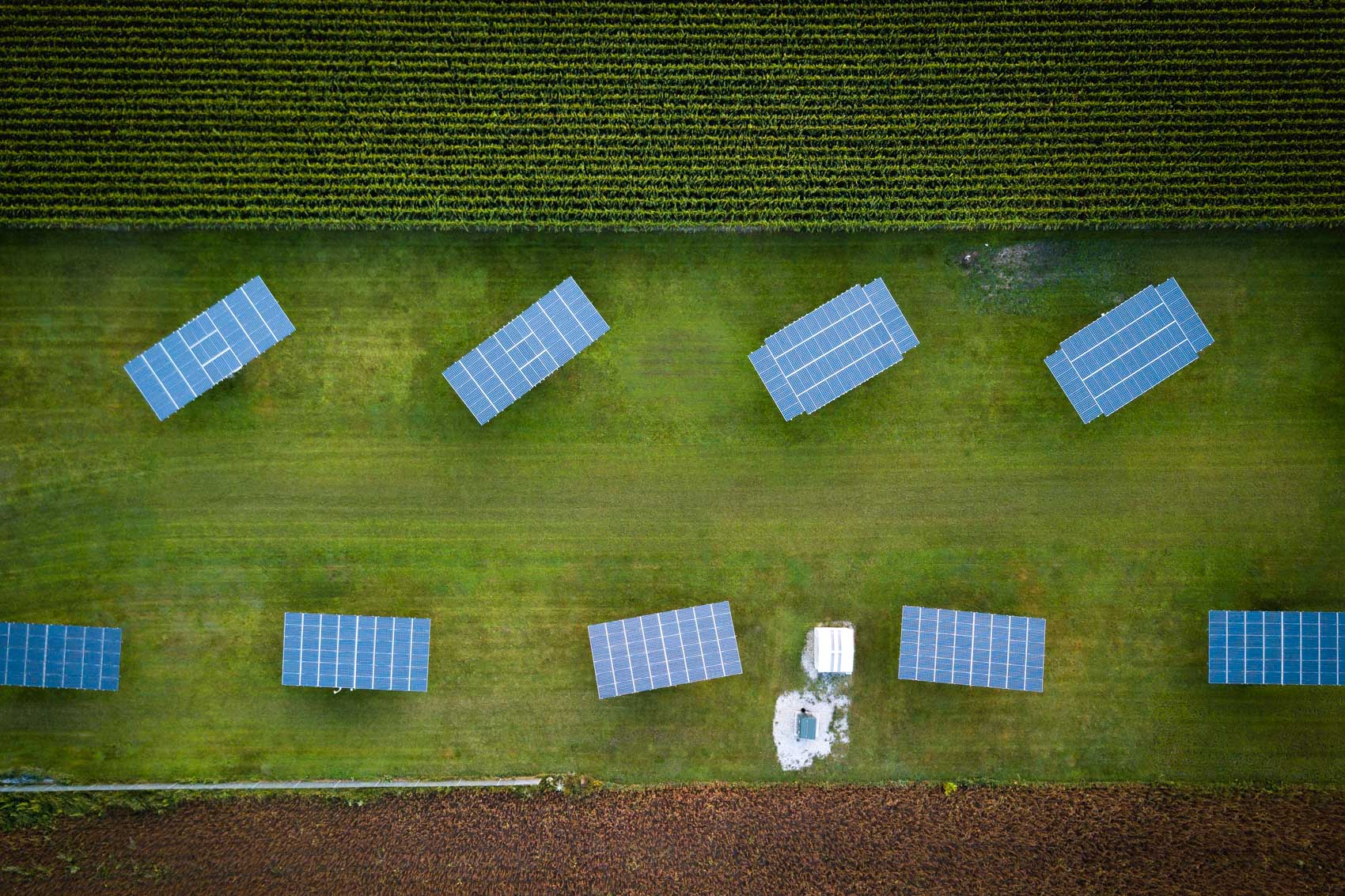 Aerial view of nine solar panels in Oxford county © David Coulson Canadian conservation photojournalist