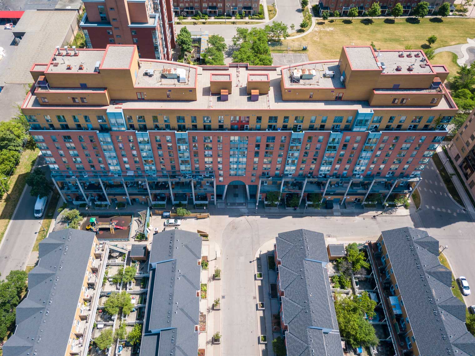 Aerial view of Robert Cooke Co-op building in Etobicoke
