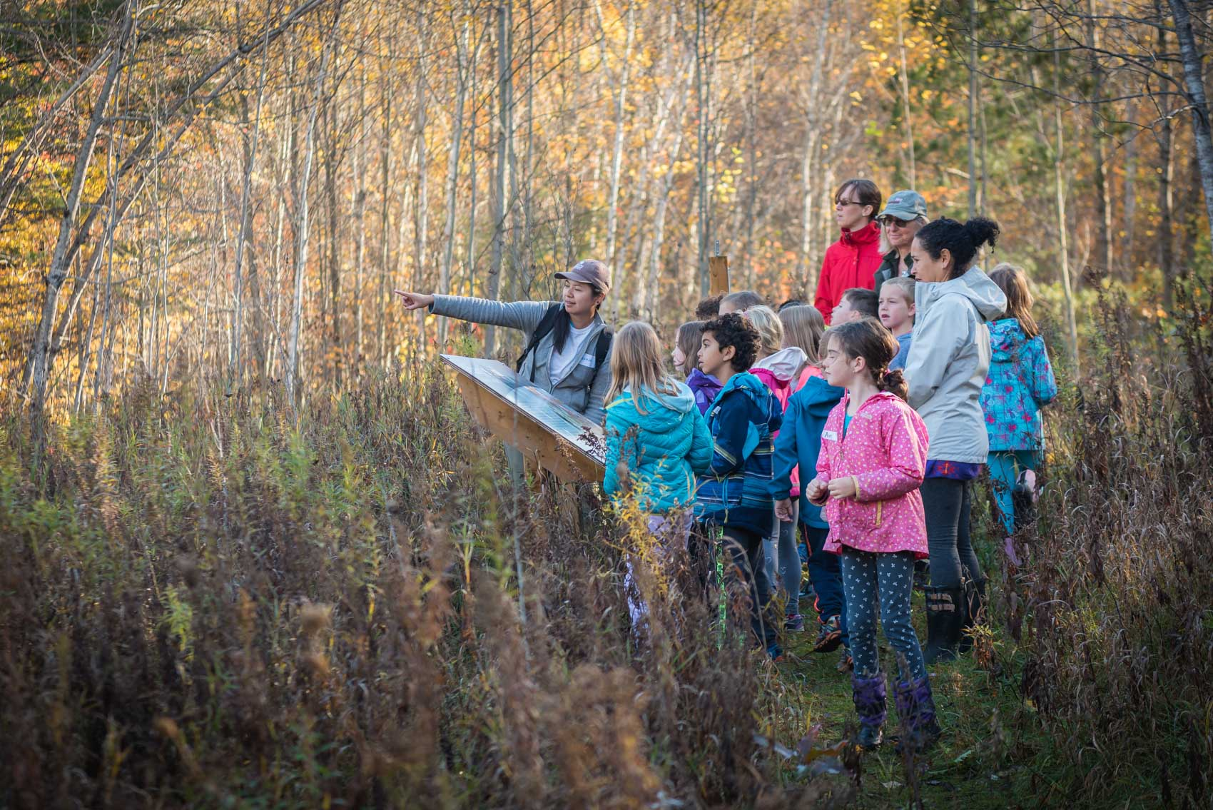 A Nature Conservancy of Canada conservation biologist points out to a field with a group of children in Happy Valley Forest