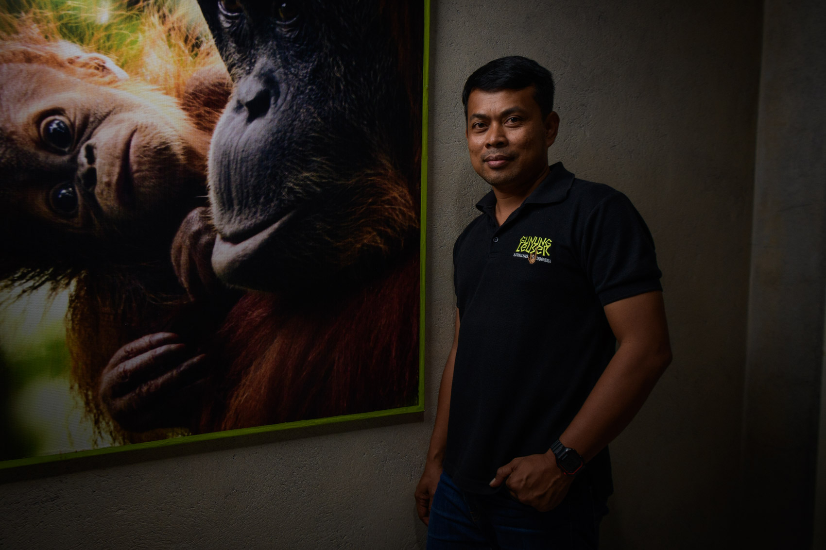 Panut Hadisiswoyo, founder of the Oranguatan Information Centre stands beside a picture of an orangutan