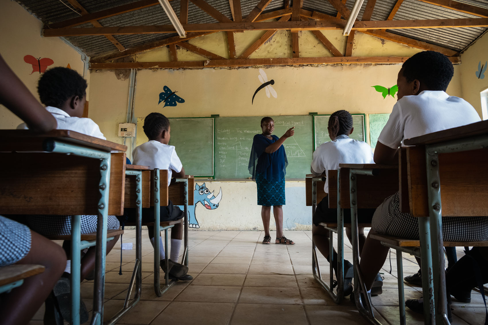 A teacher points and children listen in a classroom in South Africa