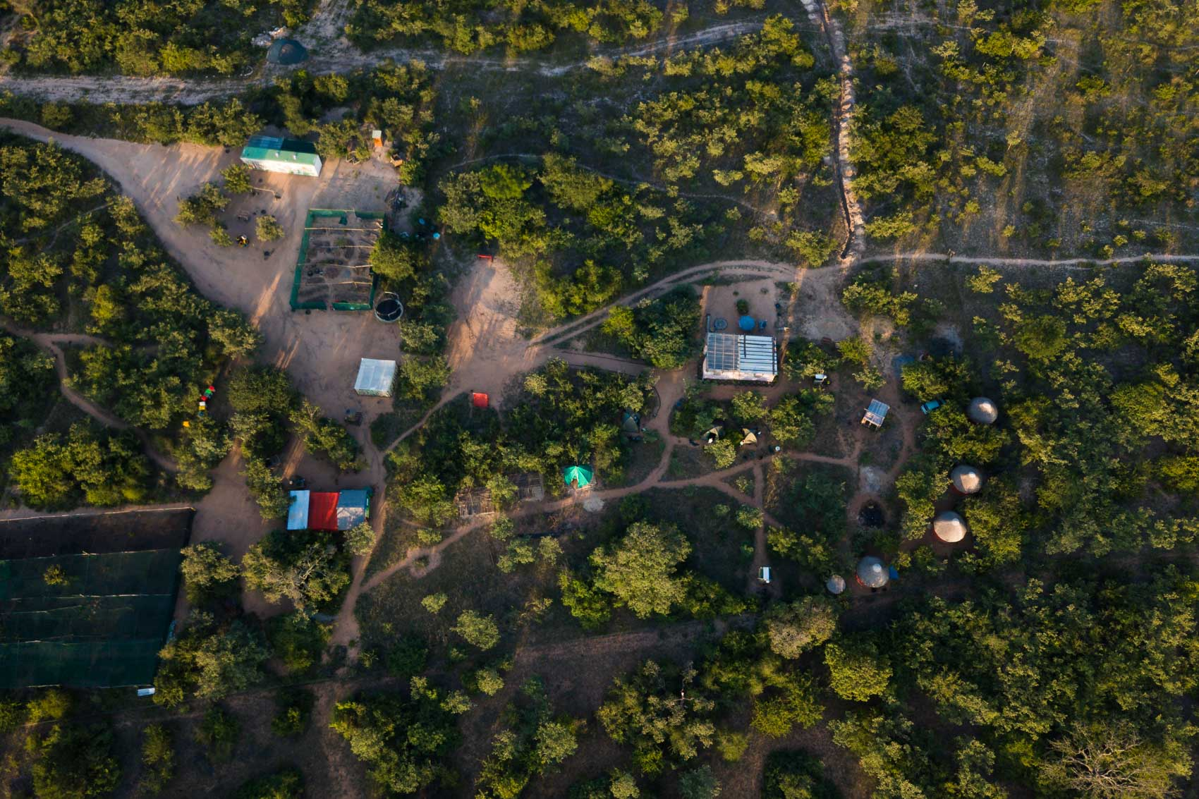 Arial view of Nourish NPO ecovillage in South Africa